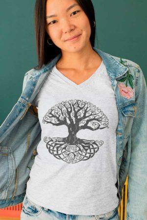 Camiseta mujer cuello pico arbol vida