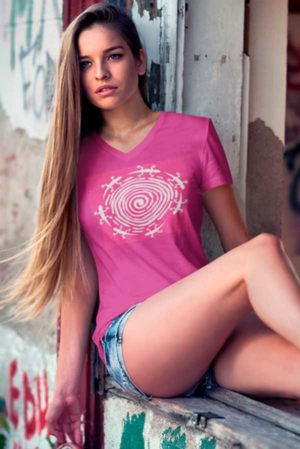Camiseta mujer cuello pico original lagartos