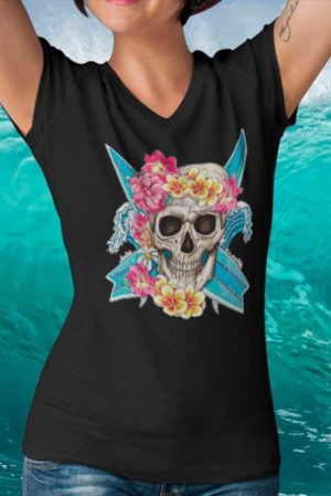 Camiseta mujer cuello pico calavera surf flores