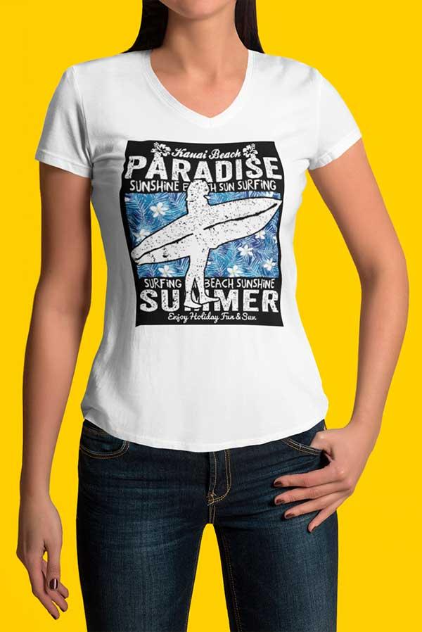 Camiseta mujer cuello pico surfera paradise