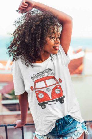 Camiseta mujer cuello pico furgoneta volkswagen
