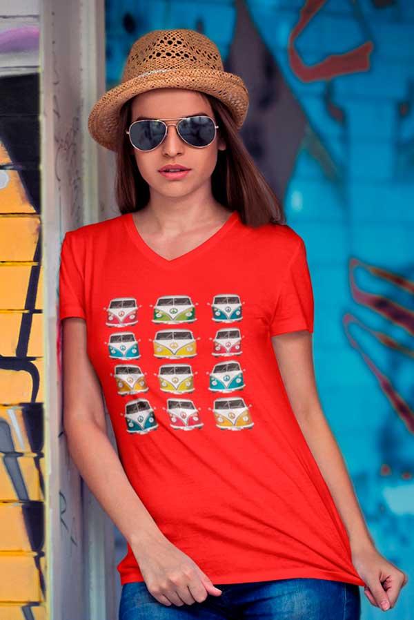 Camiseta mujer cuello pico furgonetas volkswagen
