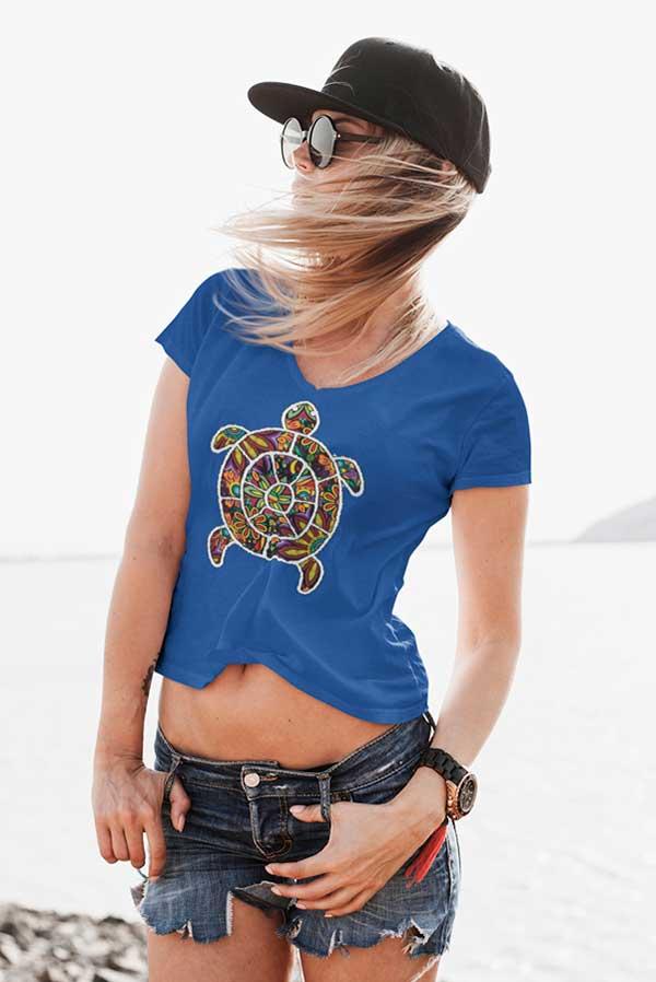 Camiseta mujer cuello pico tortuga colores