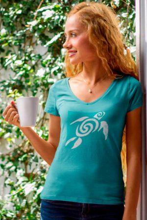 Camiseta mujer cuello pico tortuga