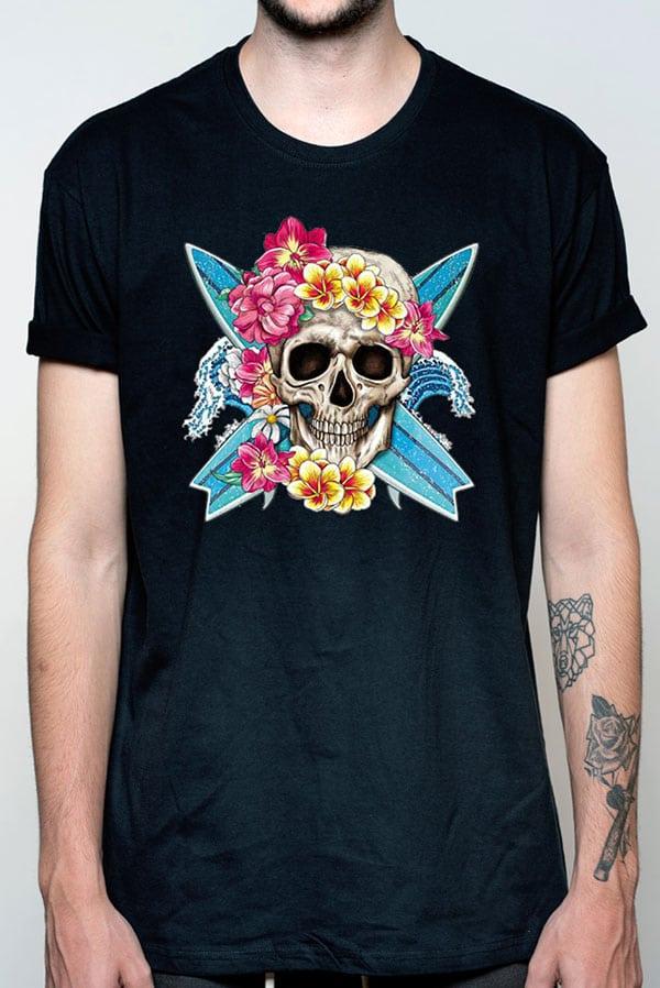 Camiseta hombre calavera surf flores