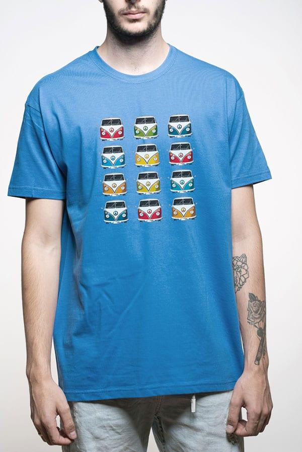 Camiseta hombre furgonetas volkswagen colores