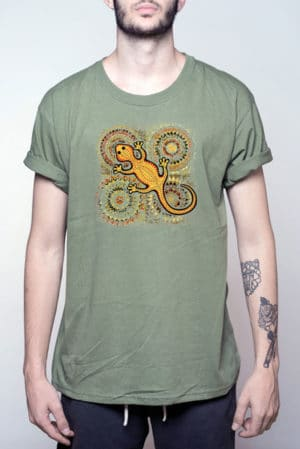 Camiseta hombre curiosa lagartija