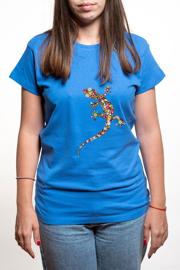 Camiseta mujer lagarto flores