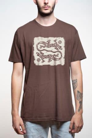Camiseta hombre lagartos tribal