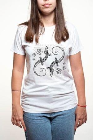 Camiseta mujer lagartos y flores