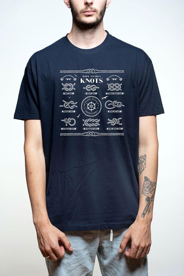 Camiseta hombre nudos marineros