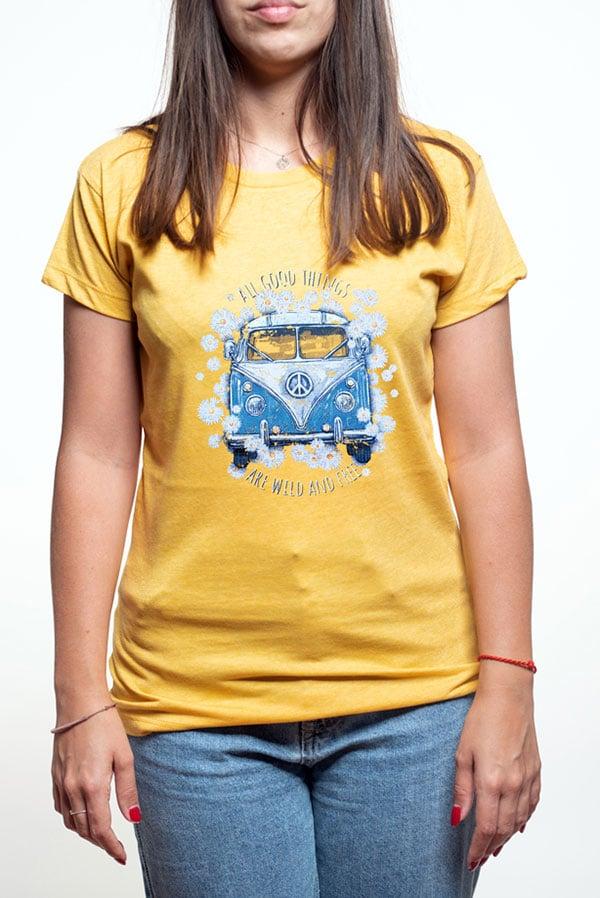 camiseta mujer furgoneta volkswagen