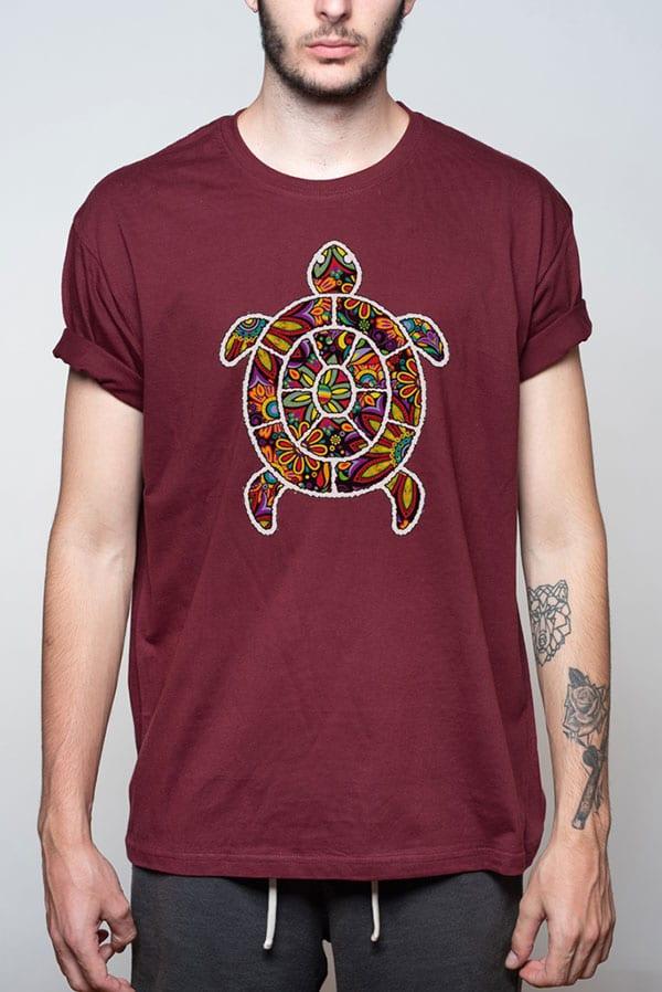Camiseta para hombre con tortuga de colores