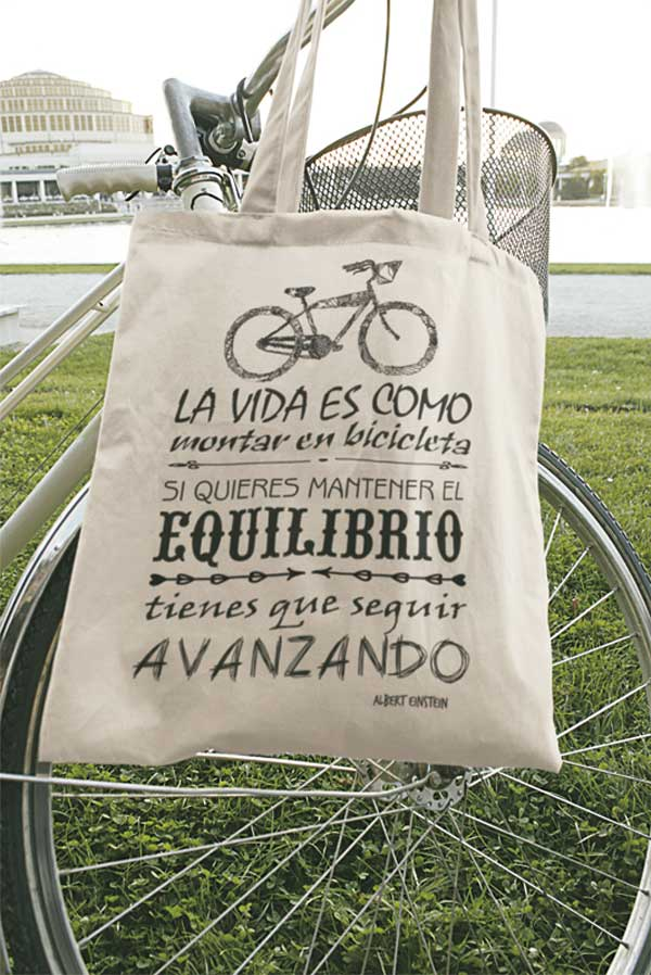 tote bag tela frase vida montar bicicleta