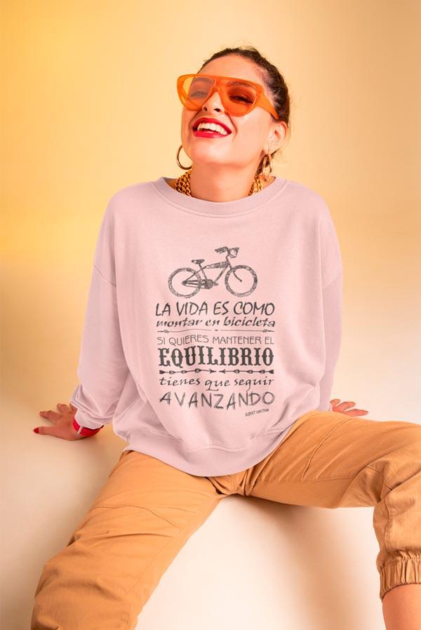 Sudadera original mujer cuello redondo frase bici