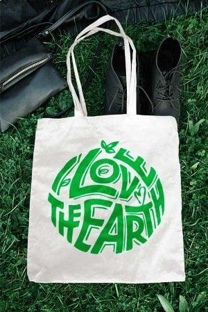 Tote bag tela I love the earth