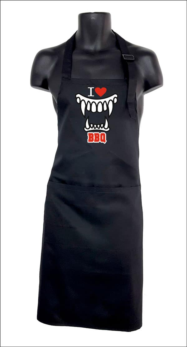 delantal de cocina original I love BBQ