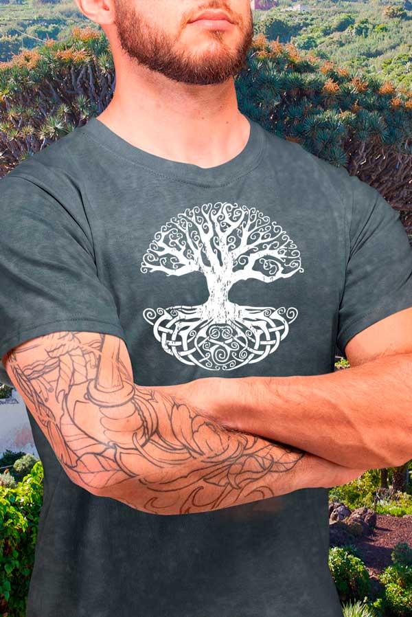 Camiseta hombre Drago árbol de la vida efecto jeans