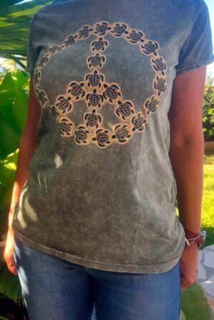 Camiseta mujer original símbolo paz tortugas